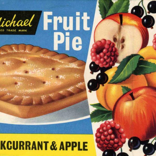 Food packaging featuring a St Michael blackcurrant & apple fruit pie