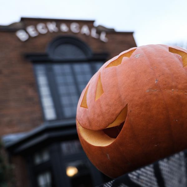 Pumpkin carved outside the Beck & Call pub
