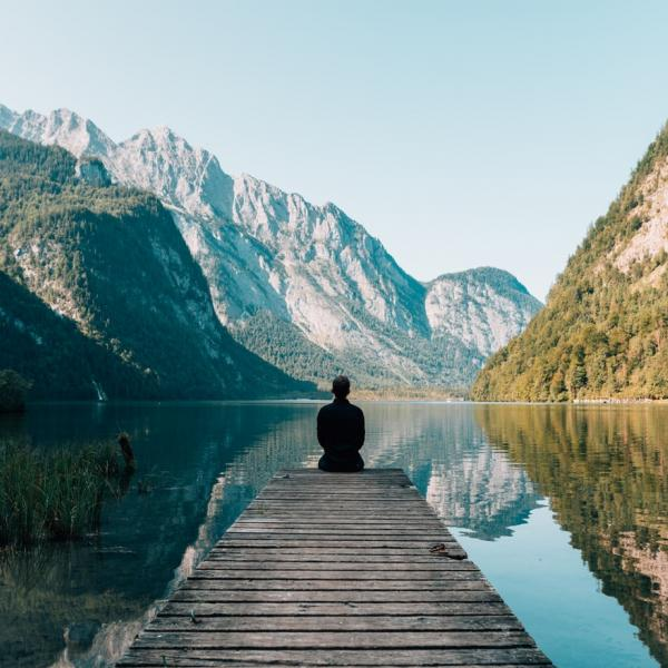 Meditator in the mountains