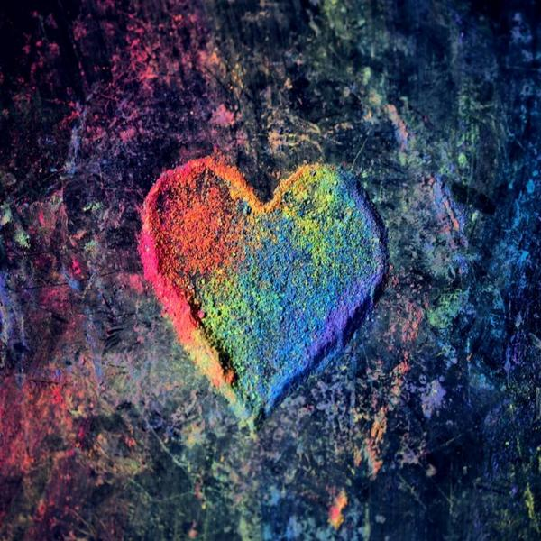 Multi-Coloured sand heart