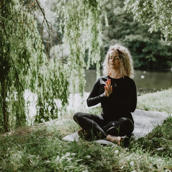 Meditation posture in Roundhay park