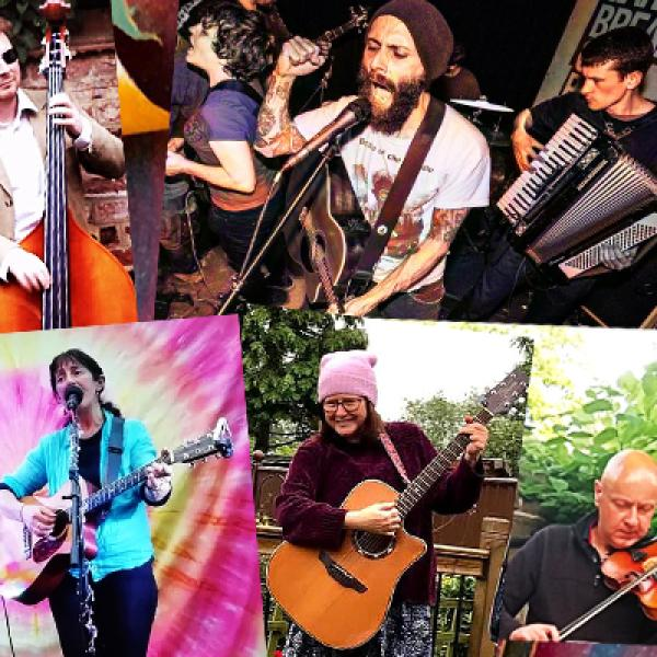 Photo collage of all artists performing at World on our Doorstep 'pop-up' gigs
