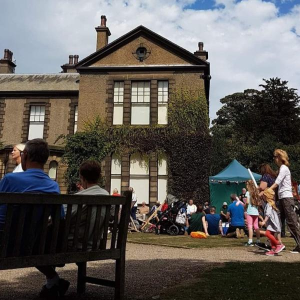 An image of the front of the main house at Lotherton during a previous fair.