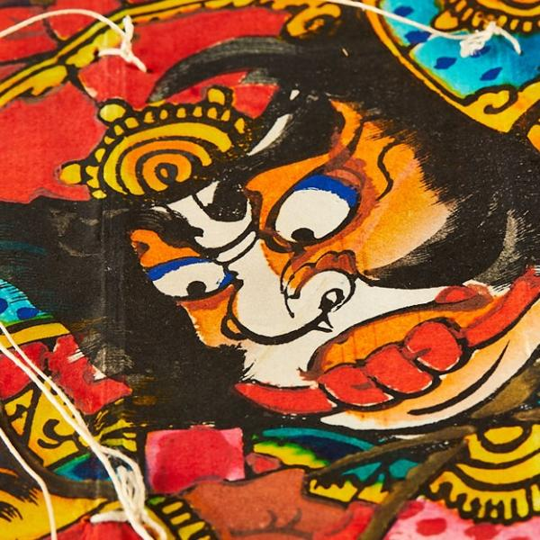 an ancient Japanese illustration in bright colours