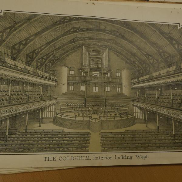 Illustration of large theatre interior