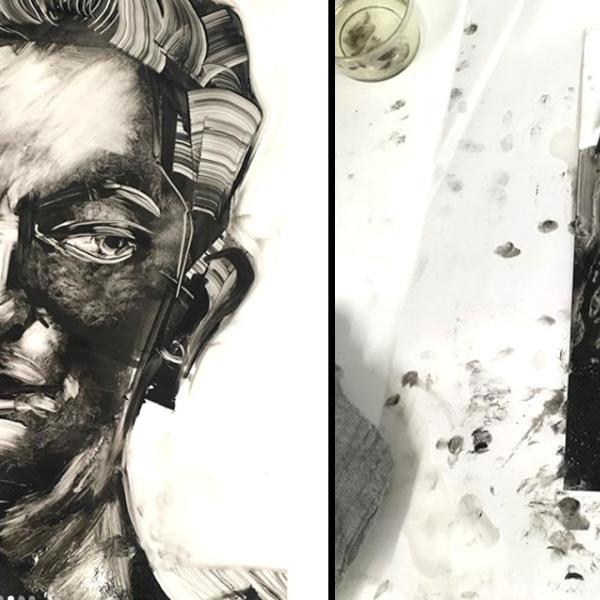 Portraiture workshop with Monoprinting