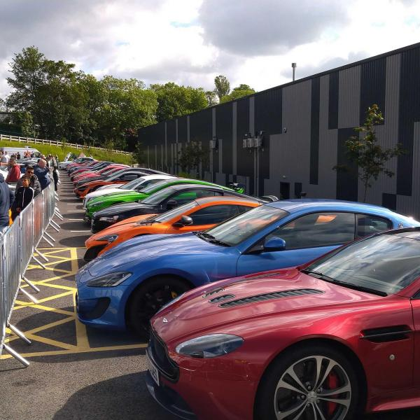 Supercars gathered at the Supercars & Coffee event in 2019