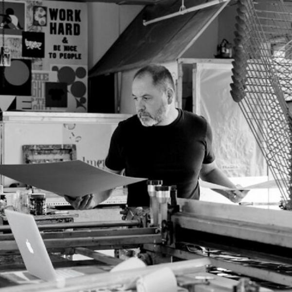 Anthony Burrill in his studio