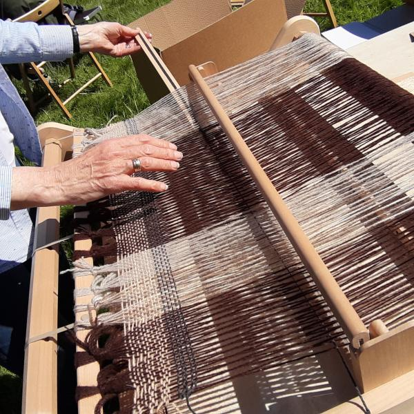 Weaving on a traditional loom