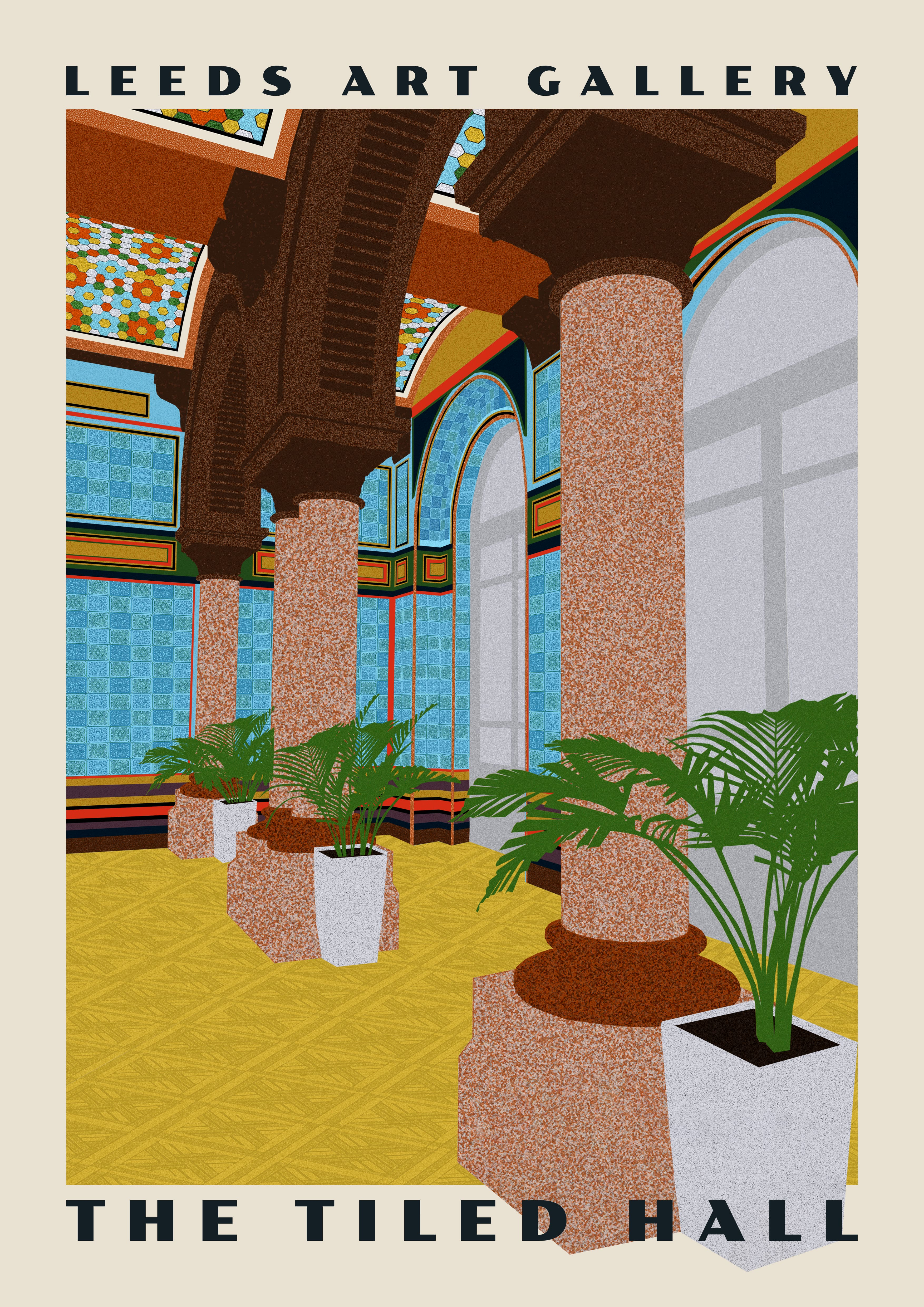 digital collage poster of the tiled hall