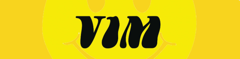the word vim is written in black on a yellow background